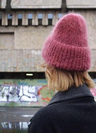 Шерстяная объемная шапка мохер