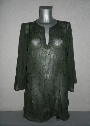 М/l-46/48 atmosphere оливковая,хаки пляжная туника платье парео новая