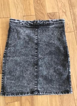 Юбка серая topshop джинсовая чёрная