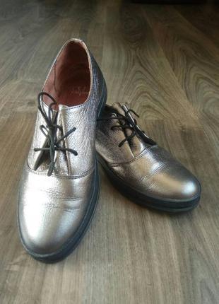 Шкіряні черевичкі срібні