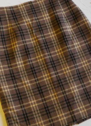 Теплая строгая юбка-карандаш в клетку m&s