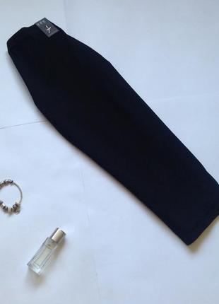 Трикотажная черная юбка миди карандаш размер l 12