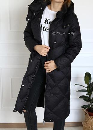 Пуховик-пальто с геометрической строчкой