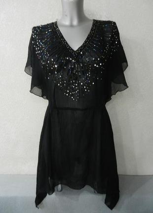 10/38/s*h&m*черная пляжная туника платье парео,с роскошной вышивкой бисером,новая