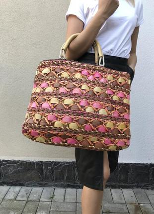 Красивая,большущая сумка плетённая,соломенная-шоппер,летняя,пляжная h&m