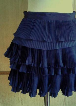 Темно- синяя плиссированная юбка, s .