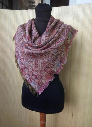Двусторонний платок / шарф тонкая шерсть / пашмина с принтом