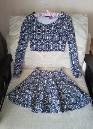Костюм 2 вещи топ кофточка юбка