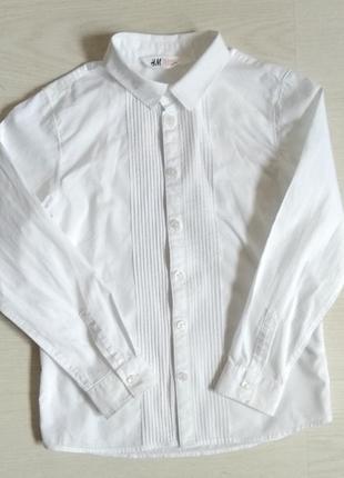 Школьная рубашка h&m с длинным рукавом