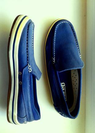 Туфли - мокасины синие тканевые, 37.