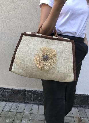 Красивая ,соломенная ,плетёная ,летняя,пляжная сумка,деревянные ручки,этно