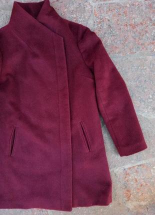 Пальто-бойфренд/прямого кроя/ на замочке цвета марсала/бордовое 12-14рр.