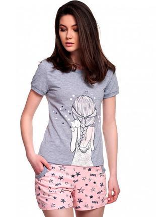"""Оригинальная пижама,домашний костюм l,xl ellen из серии """"звезды"""" с шортами."""