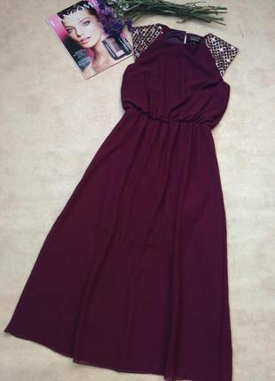 Стильное платье миди цвета марсал