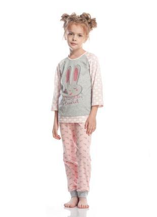 Оригинальная, стильная пижама р128 для девочки с зайчиком ellen.