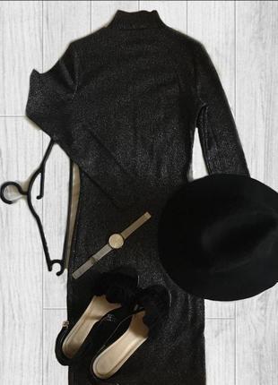 Платье чёрное блестящее длинное