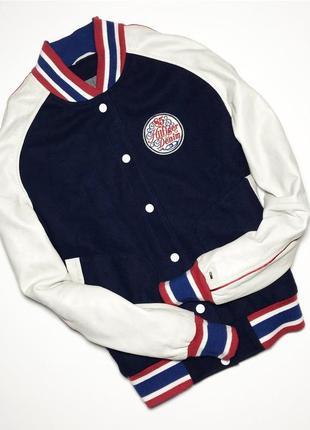 Женский кожаный бомбер ,куртка tommy hilfiger original лого на рукаве оригинал