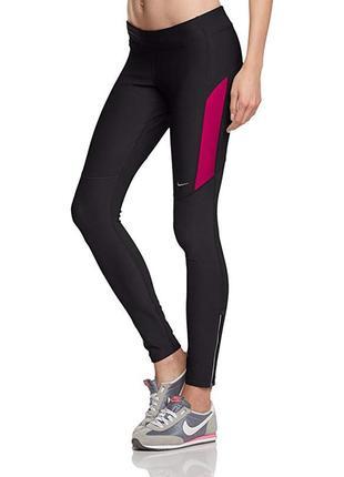 Женские спортивные лосины nike dri-fit original черные с розовым высокая посадка