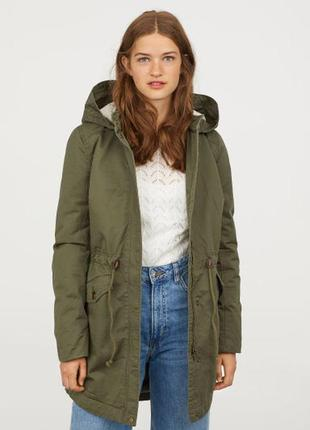 H&m германия актуальная куртка парка полу пальто женская милитари р.м-38
