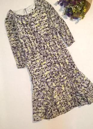 Шелковое платье миди с воланом внизу
