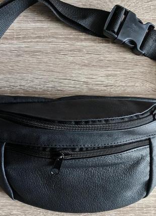 Бананка натуральная кожа, стильная сумка на пояс черная - большой размер