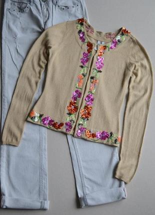 Шёлковая кашемировая кофта кардиган с вышивкой пайетками и бисером р.xs-s via seta