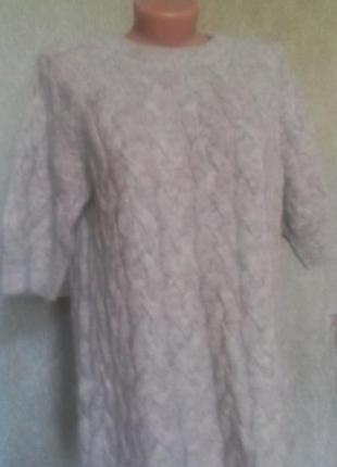 Удлиненный свитер оверсайз у косы*полувер шерсь*мохер!