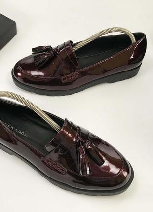 New look туфли бордовые лакированные с кисточками 37 размер