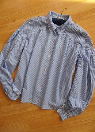 Очень красивая блуза в полосочку с жемчуженками, memory&co