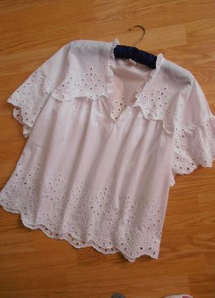 Красивенная блузочка, ришелье, х/б, h&m