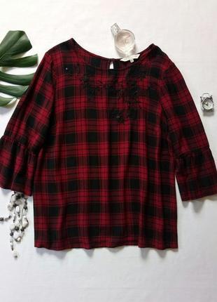 Блуза , рубашка в клетку с расклешенным рукавом