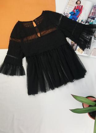 Блуза от zara шифоновая блузка кофточка с фатина