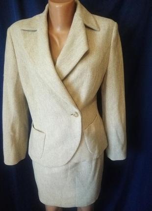 Шикарный натуральный осенний деловой офисный костюм шерсть шерстяной
