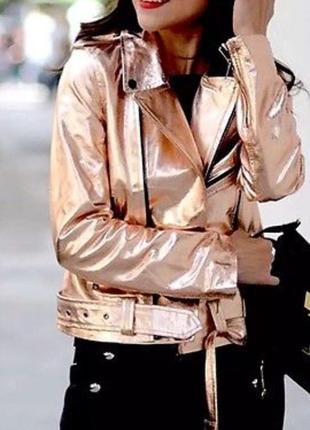 Кожаная куртка косуха золото zara