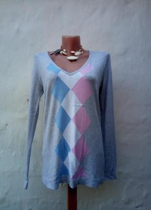 Меланжевый трикотажный пуловер с ромбами,вискоза,свитер,бренд,большой размер.