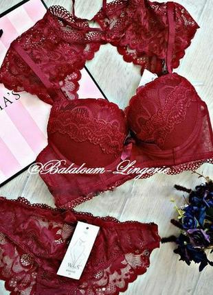 Шикарный комплект нижнего белья - два в одном, из мягкого кружева в бордовом цвете.