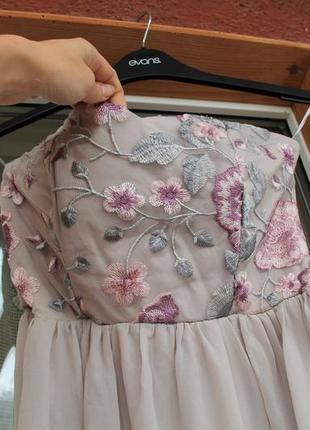 Платье, с вышивкой, нарядное, плаття, серое, короткое, в цветы