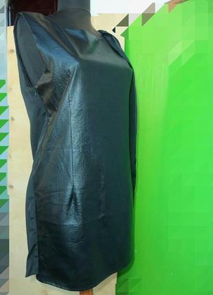 Чёрное платье футляр эко кожа со шлейфом накидкой nelly trend