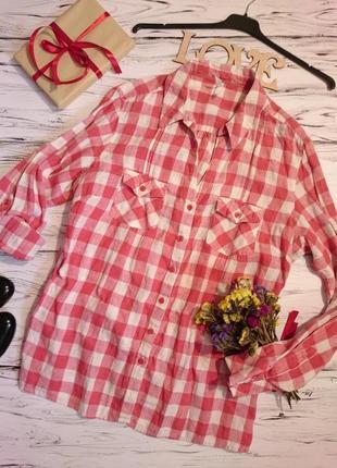 Лен 100 красивая рубашка в клеточку 16-18