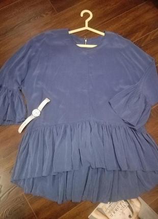Крутая тонкая блузка бохо-стиль с молнией сзади и рюшами