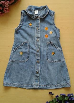 Джинсовый сарафан/платье с вышивкой, 3-4 года 98-104 см