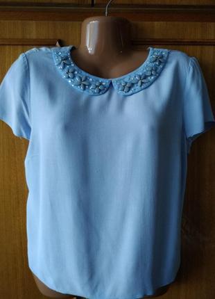 Голубая блуза с красивым воротничком от f&f, вискоза, р.16