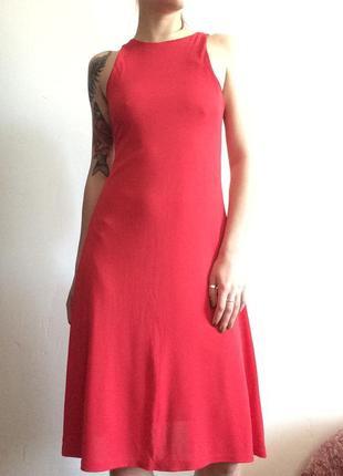 Красивое красное алое платье миди червона сукня плаття міді