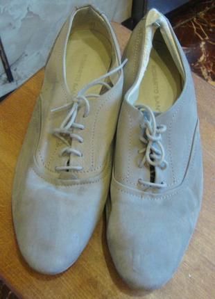 Туфли кожаные бежевые roberto santi италия 38 стелька 25,5 см