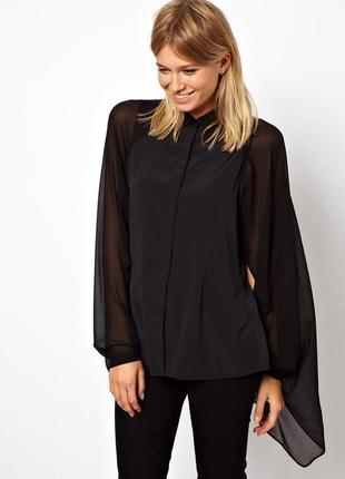 Черная блуза с шифоновым рукавом и шлейфом asos,р-р 10