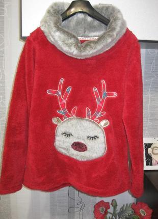Теплый меховый реглан свитер бомбер с оленем и 3д деталями м
