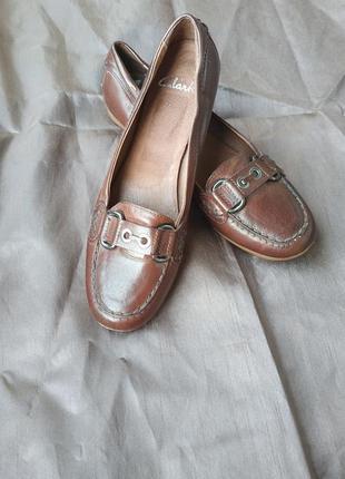 Мокасины ,туфли  кожаные clarks.