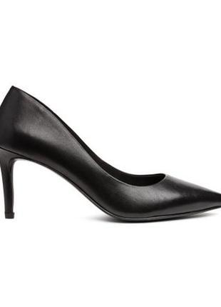 Новые туфли лодочки на каблуке h&m, классика, офис, натуральная кожа