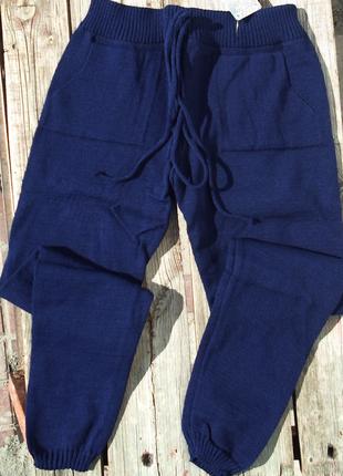Стильные вязаные брюки,штаны на манжетах,синего  цвета, универсал, 8 цветов