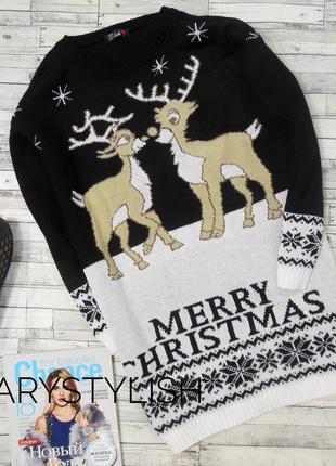 Новогодний свитер с оленями merry christmas  blush